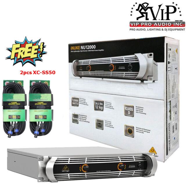 Behringer NU12000 iNUKE DJ/Club 12000W Class-D lightweight Amp + 2 SpeakON 50ft