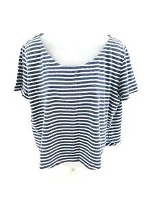 Linea-donna-Superdry-t-shirt-top-S-SMALL-BLU-RIGHE-BIANCHE-COTONE-CORTO