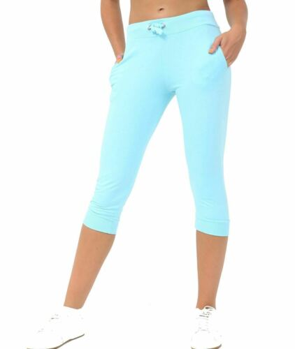 New Womens Ladies 3//4 Shorts Cropped Jog Bottoms Capri Trouser Stretch Pant S-XL