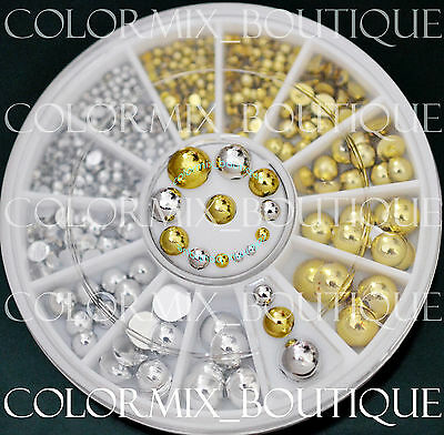 6 Sizes Nail Art Decoration Flat Back Strass Glitter Gold & Silver Pearl #R27