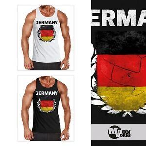 MoonWorks Herren Tanktop Fu/ßball WM 2018 Deutschland Flagge