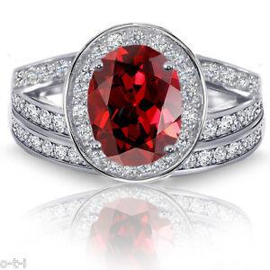 Granate-Ovalado-Halo-Imitacion-Diamantes-Compromiso-Anillo-Plata-de-Ley-Set