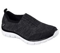 12419 Bkw Black Skechers Shoes Memory Foam Women Sport Comfort Knit Mesh Slip On