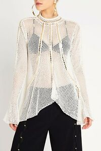 SASS-AND-BIDE-EMBELLISHED-CROCHET-KNIT-TOP-in-Ivory-Gold-RRP-420-size-M