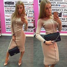 Women Button Long Sleeve Knit Dress BodyCon Sweater Pencil Party Knee Dress XL