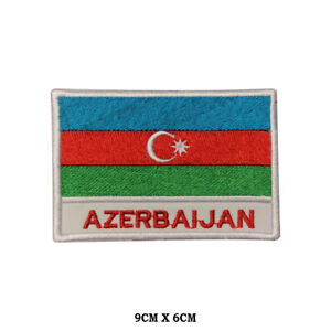 Azerbaijan National Flag Embroidered Patch Iron on Sew On Badge For Clothe etc
