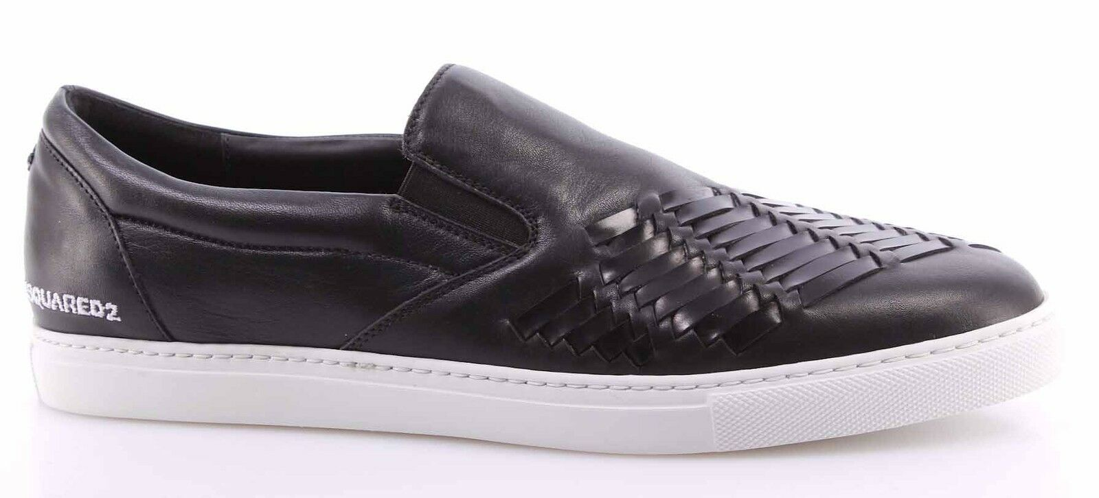 Herren Sneakers Schuhe DSQUARED Slip On Panama Vitello Sport Nero Leder Schwarz
