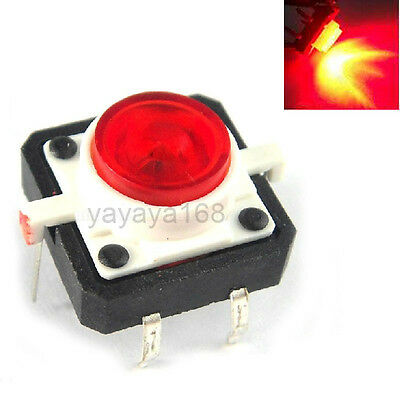 10pcs Illuminated DIP Tact Switches Red LED Light Momentary Pushbutton 12x12mm