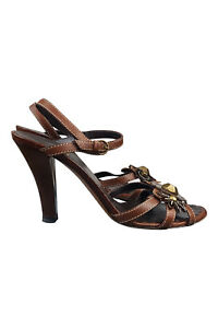 ea2ca1813055 Image is loading MOSCHINO-BROWN-HIGH-HEELED-STRAPPY-SANDALS