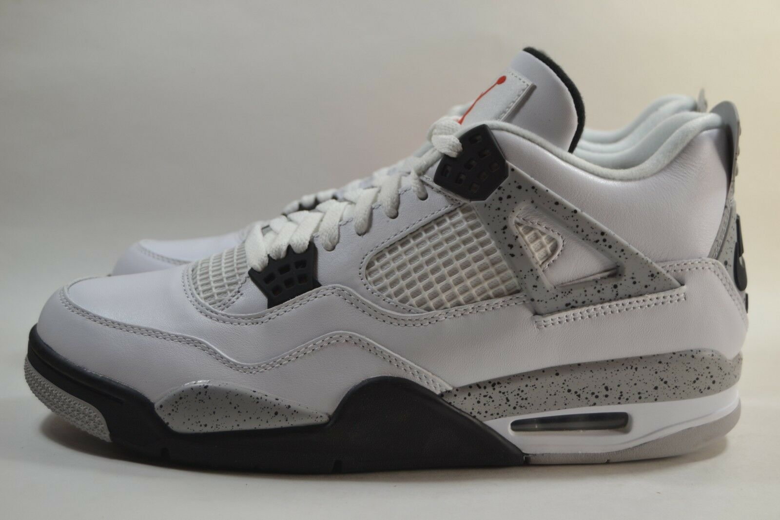 New Mens Nike Air Jordan 4 IV Retro White Cement Fire Red Grey 840606 192