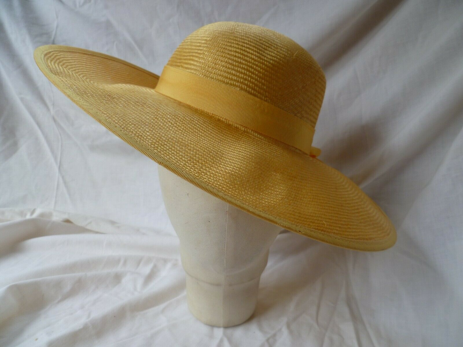 'Jacques Vert' Yellow Sisal Straw Hat with Pink Flower Detail 56cms
