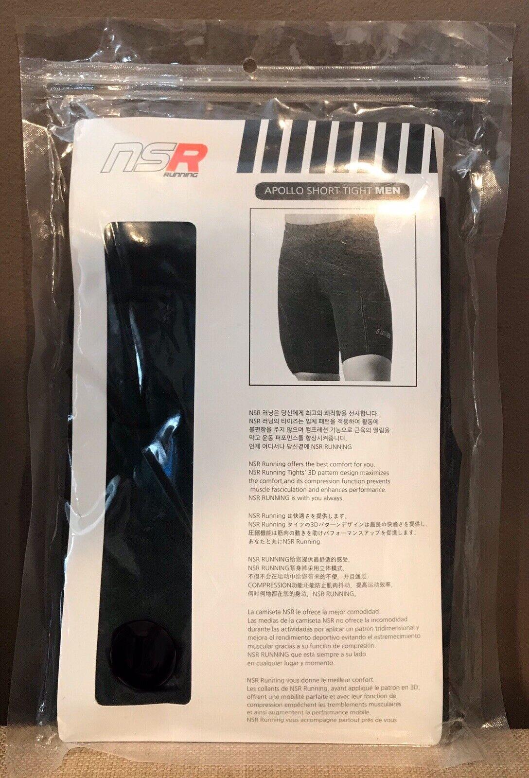 NSR Apollo Short Tight Men's Compression Running Shorts Black US size XS, S, M