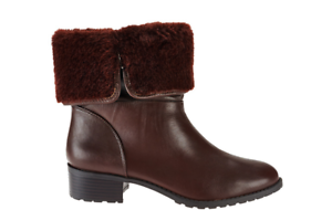 H by Halston Leather Ankle Boots with Faux Fur - Caroline Size 7.5