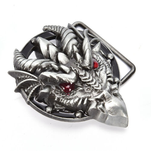 Men/'s belt buckle 7.3cm dragon head black pattern bronze metal pin buckles XBUK