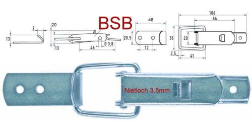 Spannverschluss Nietloch Ø 3,5 mm EDELSTAHL mit geradem Haken Kistenverschluss