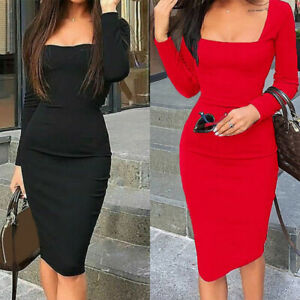 Bandage-Long-Solid-Party-Bodycon-Sleeve-Dress-Evening-Midi-Women-Cocktail-Short