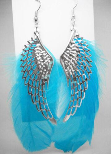 F1044 Hot Fashion Aile Bleu ciel Plume Mignon Dangle Boucles d/'oreilles Bijoux