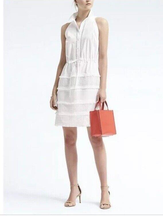 Banana Republic NWT Weiß sleeveless lace insert dress XXSP