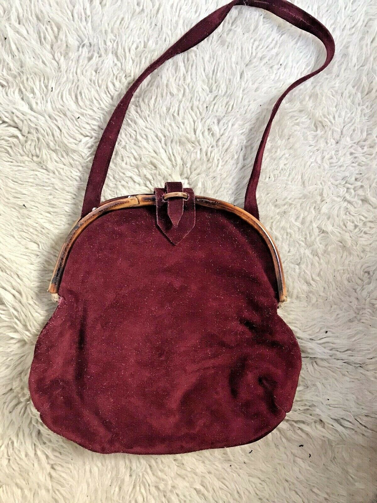 60's Vintage Suede Leather & Bamboo Purse made in Italy