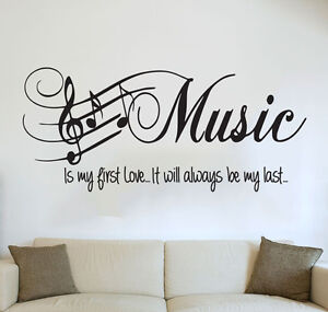 quote bedroom wall art music is my first love sticker. Black Bedroom Furniture Sets. Home Design Ideas