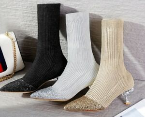 0baa6a7b77c Details about Sparkle Knit Sock Ankle Boots Sequin Jewelled Heels Black  Shoes