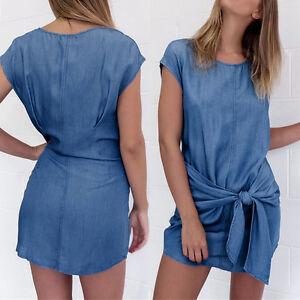 femmes-Mini-robes-JEANS-jeans-bouton-POCHE-FETE-MANCHE-COURTE-t-shirt-chemisier