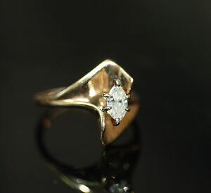 Natural-0-40ct-Marquise-Cut-Diamond-Solitaire-Engagement-Dinner-Ring-18k-SZ6-5