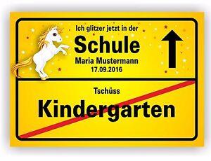 Details Zu Ortsschild Kindergarten Bild Geschenk Schule Einschulung 1 Schultag Fest Einhorn