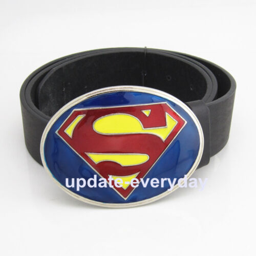 Western Blue Yellow Red Leather Mens Superhero Superman Metal Belt Buckle Gift