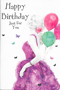Image Is Loading HAPPY BIRTHDAY CARD LOVELY VERSE WOMAN IN DRESS
