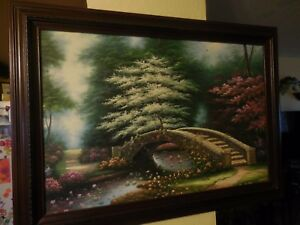 Oil-Painting-on-Canvas-of-Footbridge-Over-Lilly-Pond-by-Michael-Whittaker