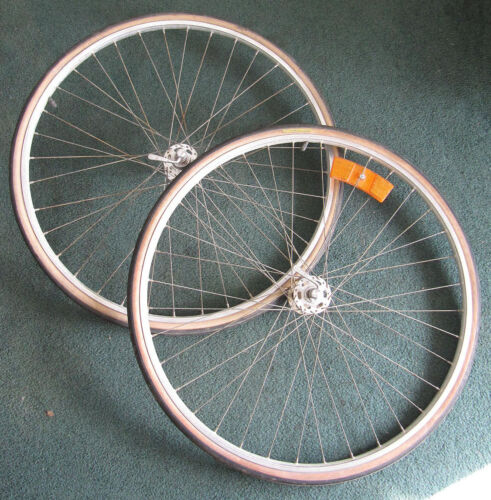 """Vintage 36 Spoke Weinmann 27"""" x 1 1/4"""" Wheelset With Normandy Hubs, Tires, Tubes"""