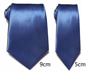 Bleu-Uni-Cravate-Satin-Skinny-Classique-Mariage-Affaires-Bal-UK
