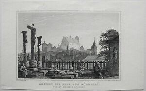 NURNBERG-Burg-Nuremberg-Castle-Orig-Stahlstich-von-LANGE-RAUCH-ca-1850