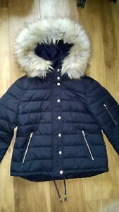 0737dcddc Details about Ladies Size 8 Topshop Navy Quilted Jacket Coat Parka Puffa  Puffer Faux Fur Hood
