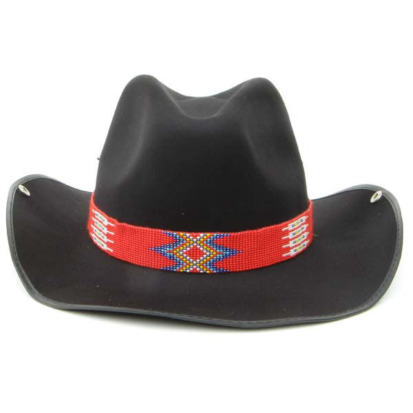 NATIVE STYLE HANDCRAFTED RED BLUE WHITE COWBOY ADJUSTABLE HATBAND LEATHER 17/13