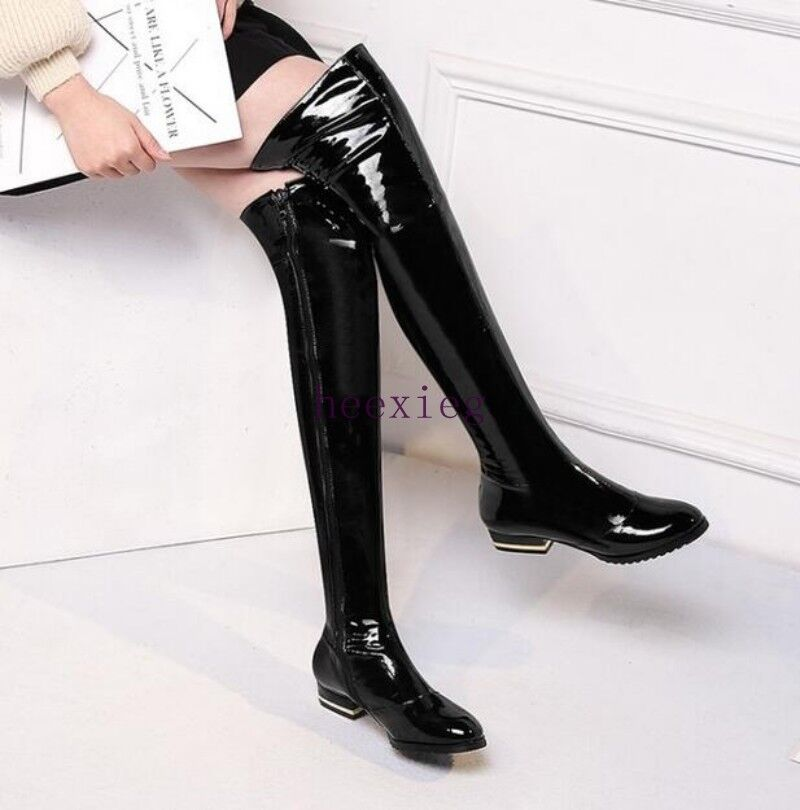 Europe Womens Over Knee Thigh Boots Stage Dress shoes Patent Leather Side Zip sz