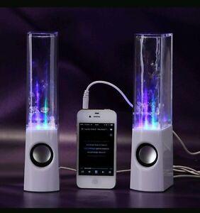 USB LED WATER DANCING SPEAKERS MUSIC FOUNTAIN LIGHT IPHONE IPOD IPAD PC Black