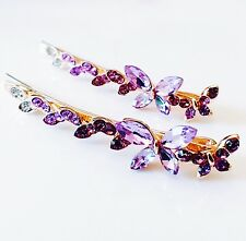USA Quality Bobby Pin Rhinestone Crystal Hair Clip Hairpin Butterfly Purple L08