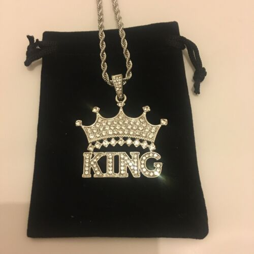 Mens plata rey cadena colgante diamantes de laboratorio completamente ICED HipHop Rap trapstar!