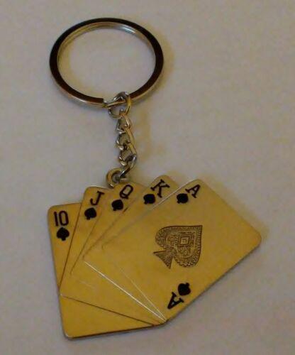 Key Chains--Poker--Royal Flush--Spades