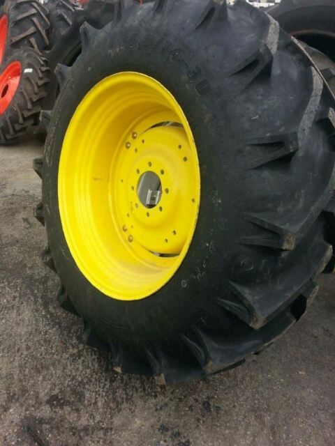 TWO New 16.9x30 John Deere, Ford, Kubota 12 Ply Tractor Tires on 8 on 8 Wheels