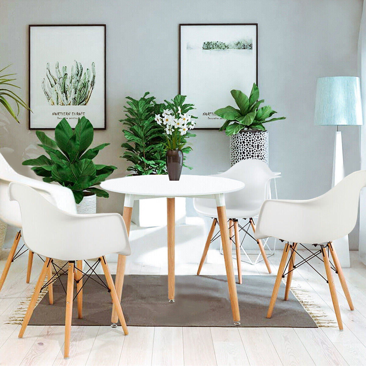 4 White Dining Chairs And Round Table