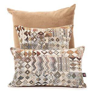 Suave-MADAGASCAR-Africana-Inspirado-Patchwork-Patron-geometrico-Cojin-de-tela