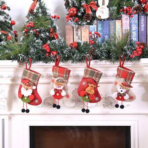 Natale-CALZA-CALZINO-Babbo-Natale-Caramelle-Sacchetto-Regalo-ALBERO-NATALE-DA-APPENDERE-ARREDAMENTO