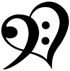 Black And White Treble Clip Art - Heart - Bass Clef Transparent PNG