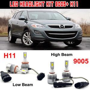 4x Led Headlight Kit Bulb H11 9005 High Low Beam For Mazda