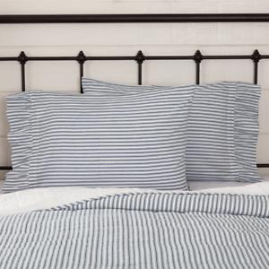 SAWYER-MILL-BLUE-TICKING-STRIPE-Pillow-Case-Set-Farmhouse-Bedding-VHC-Brands