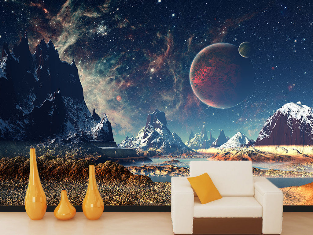 3D Snow Mountain Planet Paper Wall Print Wall Decal Wall Deco Indoor Murals