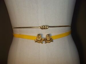 2-VINTAGE-Skinny-BELTS-YELLOW-PATENT-LEATHER-w-GOLD-OWLS-amp-GOLD-STRETCH-SNAKE